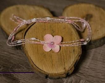 Newborn Pink Flower Tie Back