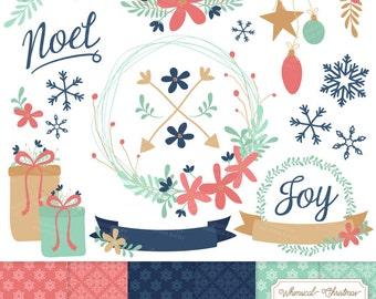Premium Modern Chic Christmas Clip Art & Digital Papers Set - Modern Chic Christmas Wreath Clipart, Christmas Clipart, Snowflakes