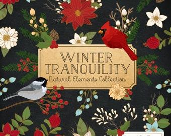 Christmas Clip Art & Christmas Vectors - Christmas Clipart, Winter Flowers Clipart, Bird Clipart, Christmas Flowers Clipart, Winter Vectors