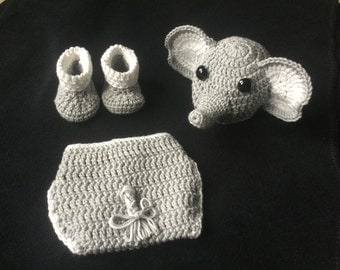 Newborn Crochet Elephant Hat, Diaper Cover and Booties