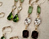 Custom Listing RESERVED For Heather, Deposit Only, Wedding Party Dangle Earrings, Spring, Summer Greens and Purples