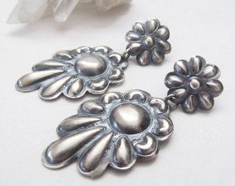 Native American Sterling Silver Earrings, Vintage Southwestern Jewelry, Statement Earrings, Bold Sculptural Earrings, Post Dangle Earrings