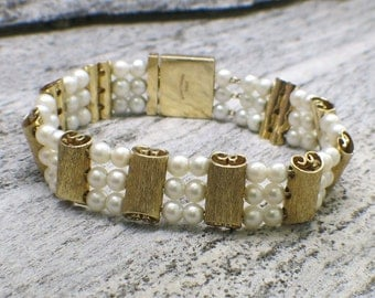 Lucien Piccard 14K Gold Pearl and Alternating Scroll Bracelet