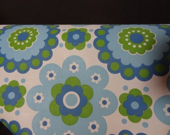Vintage Retro Floral Design Wallpaper - 1 Partial Roll - White Background with Green and Blue Flowers - Approx 3.5 Yards