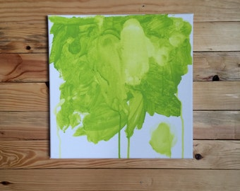 Abstract Bright Green Watercolor/ Mixed Media Painting