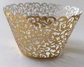12 pcs Beautiful Metallic Gold Lace Wedding Filigree Cupcake Liners Liner Baking Cup Cupcake Wrapper Wrappers Gold Cupcake Wrappers Shiny