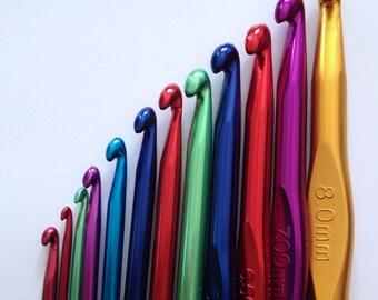 Brand New! Select Size Aluminum Crochet Hooks Select Size 2.5mm, 3mm, 3.5mm, 4mm, 4.5mm, 5mm, 6mm, 6.5mm, 7mm, 8mm, 9mm, 10mm
