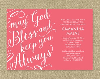 May God Bless and Keep You Always - Baptism, First Communion or Confirmation invitation - Printable PDF