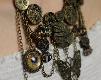 Steampunk necklace - necklace with butterfly - necklace with eye - cooper necklace - clockwork necklace