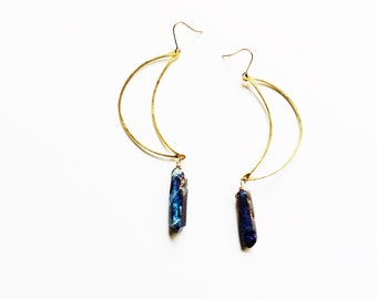 MOONBOW | Large Crescent Moon Hammered Brass and Quartz Dangle Earrings