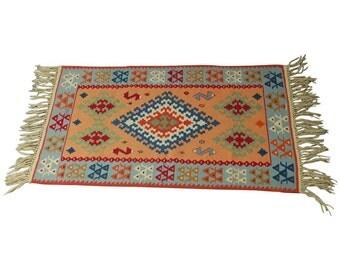 Vintage Turkish Kilim Ceyrek Rug