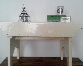 SALE* Vintage, Large, Chippy, White Painted Stool /Bench