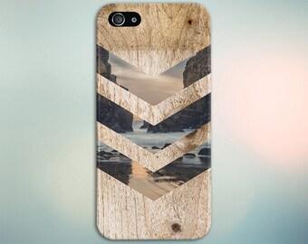 Tropical Beach Rock Cove Chevron Brown Wood Phone Case Nature Galaxy s8 Case, Tough Case iPhone 6, Samsung Note 5 Case Escape iPhone 6s Plus