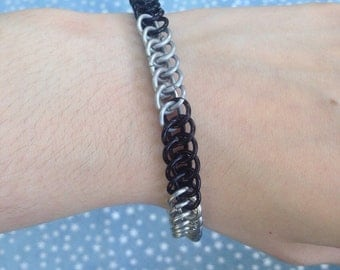 Half Persian Black and Silver Chainmaille Bracelet