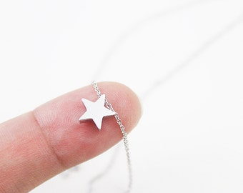 Tiny Silver Star Charm Necklace Dainty Everyday Necklace. Dainty Everyday Necklace Simple and Modern Necklace  Bridesmaid Necklace.