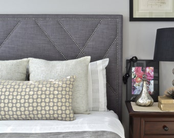 Upholstered Headboard, King, Queen, Full, Twin Size, West Elm Linen Fabric, Antique Pewter Nailheads w/ Geometric Design