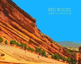 Red Rocks Amphitheater Poster - Colorado Springs Print - Denver Decor - Home Decor Wall Art Fine Art Print #vi454