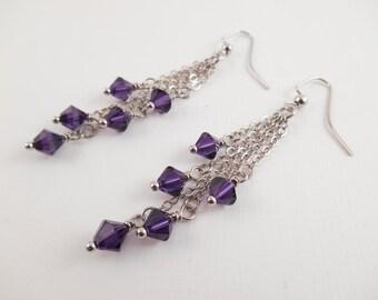 Purple Dangle Earrings - Swarovski Purple Beaded Chain Dangle Earrings