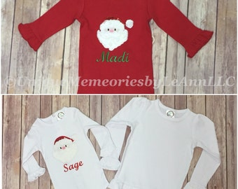 Infant, Toddlers and Girls Christmas Ruffle Shirt Santa appliqué with 2 color options of either Red or White shirt, FREE Name/Monogram!!