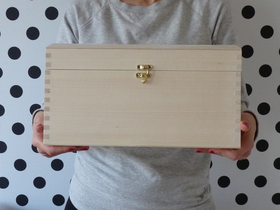 Large Unfinished Plain Natural Hinged Wood Box for by ...  |Large Unfinished Wooden Boxes