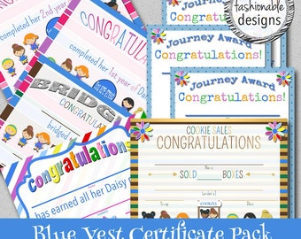 Blue Vest Certificates Pack - Instant Download - Print Your Own!