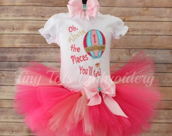 Hot Air Balloon Birthday Tutu Outfit ~ Oh The Places You'll Go Tutu Outfit ~ Includes Top, Tutu & Hair Bow~ Customize in Any Colors!