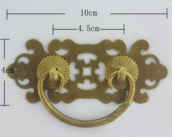 brass made : 1 pcs 100MMx40MM brass Cabinet door handle,brass handle,Drawer handle,Brass Antique handle