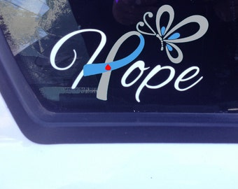 Grey and Light Blue Awareness Ribbon Hope Window Decal (Type 1 Diabetes)