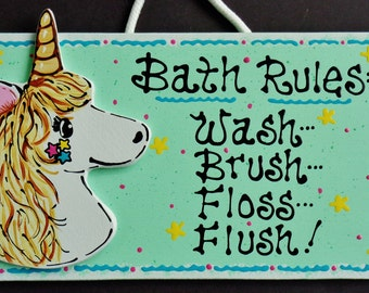 UNICORN Bath Rules Bathroom SIGN Mythical Wall Hanging Decor Plaque Children Kids Handcrafted Hand Painted