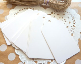 25 White Kraft Paper Scalloped Gift Tags Price Tag Crafts 4 x 7cm