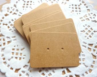 25 Kraft Paper Earrings Display Cards Crafts 5cm