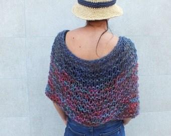 Loose knit Poncho Short poncho Boho poncho mohair