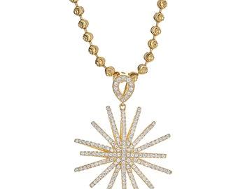 Beautiful .925 Sterling Silver Celestial Star Pendant, 12 GRAMS