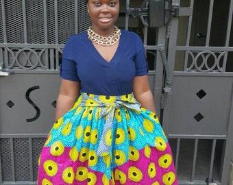 African Colourful Record Midi Skirt; African Clothing; African Outfit: African Skirt; Long Skirt; Summer Skirt; Skirt; Rainbow Skirt