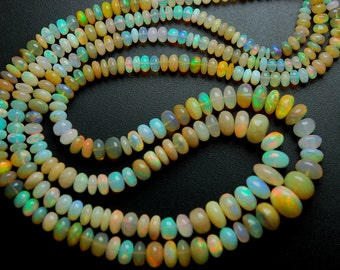 122 Carats, 2 x 15'' Full Strands, Super Finest Full Mixed Yellow Fire Flash, Natural Yellow Ethiopian OPAL Rondelles, LARGE Size 9-4MM