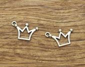 30pcs Crown Charms Antique Silver Tone Princess Prince Charm 20x13mm 1756