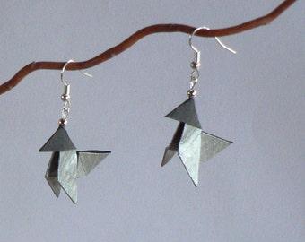 Boucles d'oreilles Origami Cocottes Papier Façon Métal.