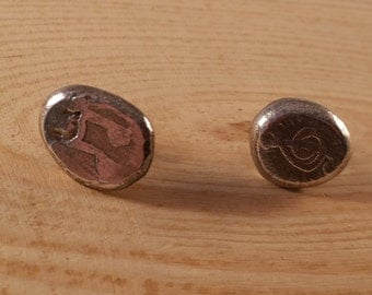 Sterling Silver Etched Music Stud Earrings