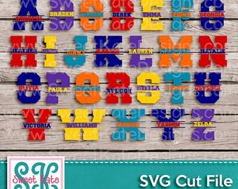 Split Varsity Letters SVG JPG PNG Sports {Scrapbook Die Cut Heat Transfer Vinyl Cut} Cricut Silhouette Instant Download Sweet Kate Designs
