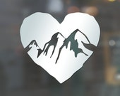 """5"""" or 3.25"""" Mountain Love Organic heart rock shaped vinyl decal - CHOICE of COLORS - GREAT for nature lovers!"""
