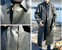 Rare! Rubber long black Raincoat vtg 40s 50s Steampunk Cosplay Scientist Industrial vibe