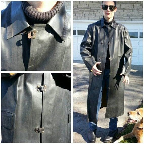 Rare caoutchouc noir imperm able vtg 40 s 50 s ambiance for Magasins de robe de mariage portland oregon
