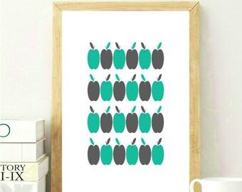 Apple Kitchen Print, Scandinavian Print, Scandinavian Wall Art, Baby Room Wall Art, Nursery Wall Art, Apple Nursery Print, Green Nursery Art