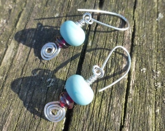 Etched Swirls - Argentium Sterling Silver Wire Wrapped Earrings With Turquoise Matte Etched Lampwork Beads & Garnet Gemstones