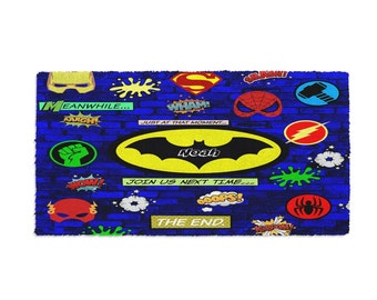Personalized Super Hero Rug Blue