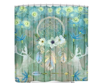 Dream Catcher Shower Curtain-Deer Feathers Floral on Faux Wood