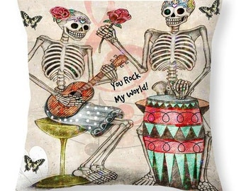 """Sugar Skull Throw Pillow Skeletons in Love  Series """"You Rock My World"""""""