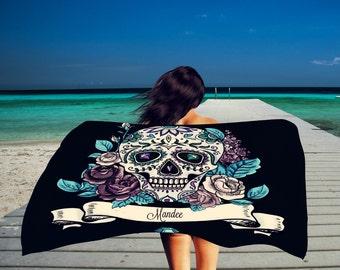 Personalized Sugar Skull Beach Towel , Oversized  36 in x 72 in Black Teal