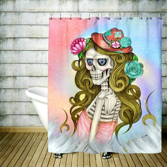 Sugar Skull Shower Curtain Glam Shot Lady Skull