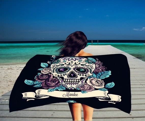 Personalized Sugar Skull Beach Towel , Oversized 36 in x 72 in Black Teal